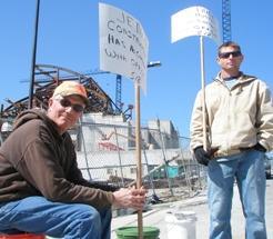 On picket line, Kauffman  Arts Center site, Larry Middleton(L), Tom Kelsey (R).