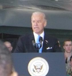Vice President Biden in front of a B-2 Bomber