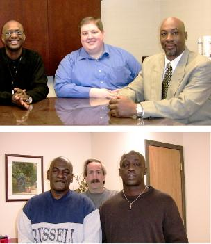 Once incarcerated, all are back in the workforce: Beyond the Conviction founder Patrick Danley, Michael Jackson, Bernard Bryant, Billy McKinney, Lowell Sommers and Byron McKinney. (Right click to enlarge)