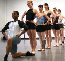 "Christopher Barksdale and Kansas City Ballet company members at a rehearsal of ""Salute"""