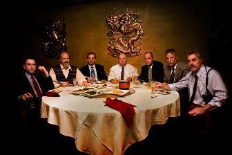 Glengarry Glen Ross by David Mamet. Pictured left to right:  Williamson (Brian Paulette), Lingk (Phil Fiorini), Roma (Scott Cordes),  Levene (Victor Raider-Wexler), Moss (David Fritts), Aaronow  (Stuart Rider), Baylen (John Rensenhouse).