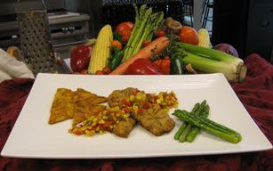 Pan Fried Catfish with Ginger Sweet Potato Cakes, Maque Choux Relish and Sauteed Asparagus