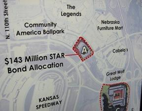 Proposed  site of  Wizards Stadium in Village West  complex.(click to enlarge)