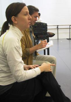 Choreographer Jessica Lang and the Kansas City Ballet's Ballet Master James Jordan during a rehearsal of Splendid Isolation III.