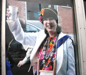 A picture of Anne Winter, posted in tribute on the door outside the former location of Recycled Sounds.