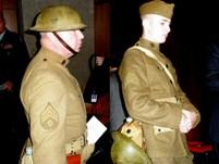 In preserved WWI  uniforms, (L) LTC  Edwin Kennedy, US Army ( ret), Leavenworth, Ks. (R)  Sgt Reed Rupp, US Army  Reserves, Tonganoxie, Ks.
