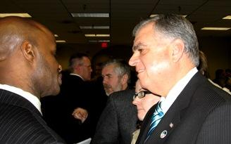 U.S. Transportation  Secretary  Ray La Hood(r)  and   K.C. Councilman Terry Riley(l).