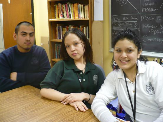 Jose Guadalupe Limas, Brenda Sanchez Chavira and Nidia Castillo at Alta Vista Charter School. Photo by Sylvia Maria Gross / KCUR.