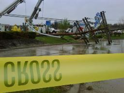Power  poles    damaged and  destroyed  by winds  in Independence, Mo.