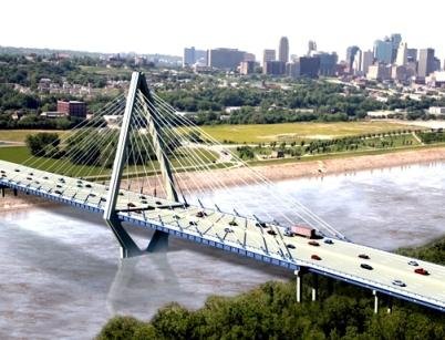 Artist's rendition of  Bond  Bridge  before  construction  began. View    looking  to  southwest from  northeast  shore of Missouri River.