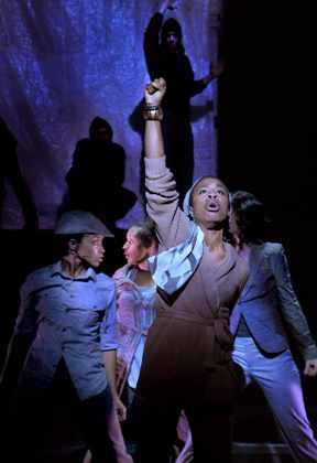 Uzo Aduba (front), Kansas City native Angela Wildfower Polk (left) and Jasmin Walker (back). Photo by Don Ipock, courtesy of the Kansas City Repertory Theatre.