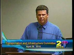 Union   business   agent Jason Mendenhall  before    Transportation and Infrastructure  Committee  of Kansas City Council
