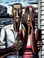 David Bates, The Flood, 2006?07, oil on canvas, 86 x 64 inches, Collection of Lillian W. and Katherine E. Albritton, Dallas, Texas; photo: David Wharton