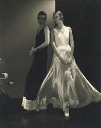Model Marion Morehouse and unidentified model wearing dresses by Vionnet c. 1930