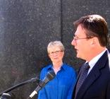 Kay  Barnes (left), Mike Sanders (right) in front of Jackson County Courthouse.