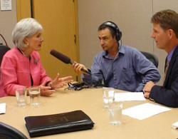 HHS Secretary Kathleen Sebelius, KCUR News Director Frank Morris and Up to Date host Steve Kraske