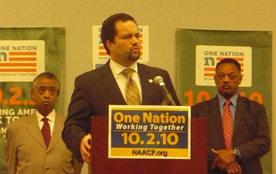 Reverend Al Sharpton, NAACP President Benjamin Todd Jealous and Reverend Jesse Jackson.  Photo by Sylvia Maria Gross / KCUR.