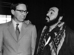 Harriman-Jewell Series co-founder, Richard Harriman, with tenor Luciano Pavarotti in 1983.