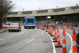 Terminal B  construction  as drivers  encounter it.