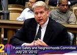 Police  Chief  Jim Corwin  highlights his  long  term  crime fighting plan to  city  council committee.