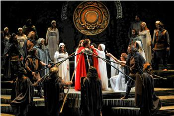 "Brenda Harris, as Norma, and the company in Lyric Opera of Kansas City's production of ""Norma."""