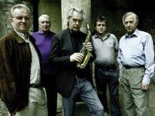 The Hilliard Ensemble and Jan Garbarek (center) say they decide nothing before playing a piece.