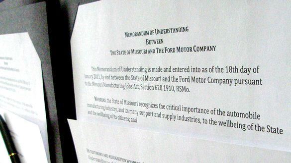Agreement  between Ford and  Missouri,  witnessed  by Gov. Jay Nixon.(click to enlarge)