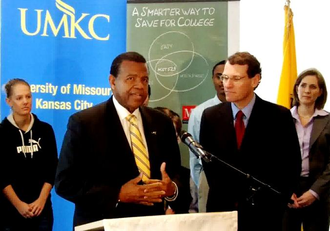 UMKC Chancellor Leo Morten introduces Missiouri Treasurer Clint Zweifel.
