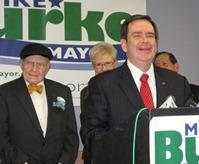 Former mayors Wheeler, Barnes and Berkley, flank Burke.