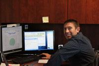 Jason Tatge in his office at Farms Technology's headquarters in Overland Park, Kan.