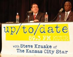 Mike Burke and Sly James at Up to Date's primary debate, February 2011.