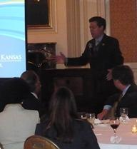 Kansas Governor Sam Brownback speaking at a fundraising event for KU Cancer Center.