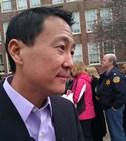 Google   internet  access chief Kevin Lo fields  questions outside Wyandotte H.S.
