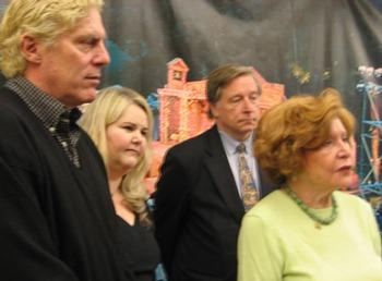 Actor John Rensenhouse (cast as Macbeth), producing artistic director Sidonie Garrett, board member Crosby Kemper III, and founder Marilyn Strauss.