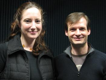 Composer Dr. Mara Gibson of the UMKC Conservatory of Music and Dance and Chicago-based violist Michael Hall in the KCUR studios.