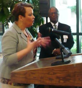 EPA Administrator Lisa Jackson toured Children's Mercy Hospital's new environmental health center during her visit to Kansas City.  KC Mayor Sly James (right) also attended.