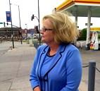 Sen. Claire McCaskill ( D., Mo) at  K.C. gas  station. She  opposes    subsidies to  major oil, special tax on miles driven.