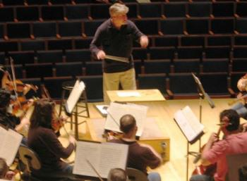 Music Director Michael Stern conducts Beethoven during the first rehearsal in Helzberg Hall.