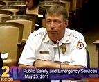 Jeff Grote is  Deputy Fire Chief, debriefing Joplin action for  a Kansas City Council Committee