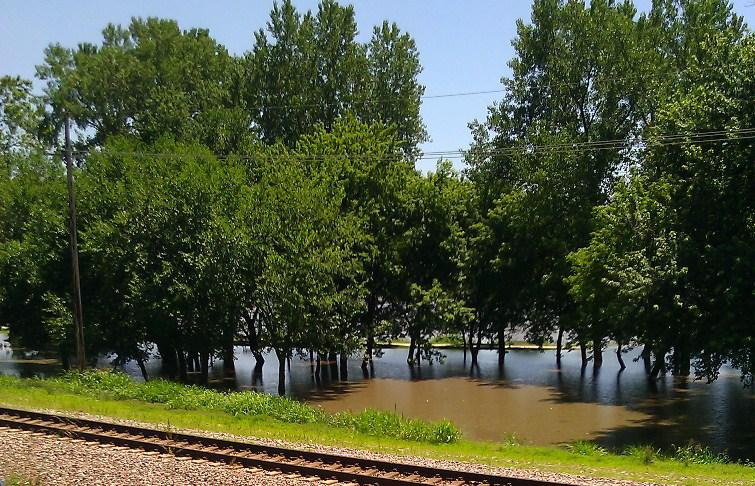 Missouri River filling    city park at Parkville, Mo. BNSF  tracks in foreground. ( click to enlarge)