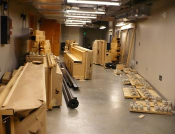 July 11, 2011: Containers backstage at Helzberg Hall during the installation of the pipe organ.