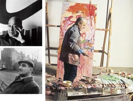 Clockwise from top: Clement Greenberg, Willem de Kooning, and Harold Rosenberg.