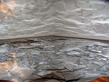 June Ahrens, Hiding in Plain Site, 2008; site-dependent installation, acrylic mirror and light, 174 inches diameter.