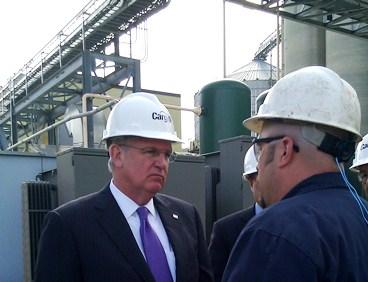 Missouri Governor Jay Nixon at Cargill  grain processing plant in Kansas City. He leaves   Friday for China to  boost ag  exports.