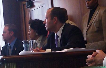 Diane Cleaver, flanked  by Missouri  Representatives Mike Talboy (r) and Jason  Holsman(l), favor Mayor's operation of  KC schools.(Click to enlarge.)