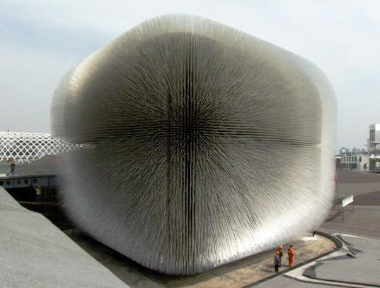 Unveiled at the 2010 Shanghai Expo, the UK Pavilion, designed by Thomas Heatherwick, is six stories tall and features 60,000 translucent rods that channel sunlight into the interior of the pavilion.