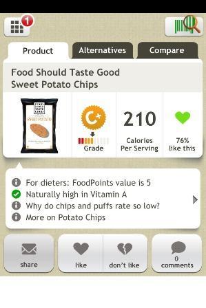 "Screen shot from smart phone app ""Fooducate."" Fooducate.com"