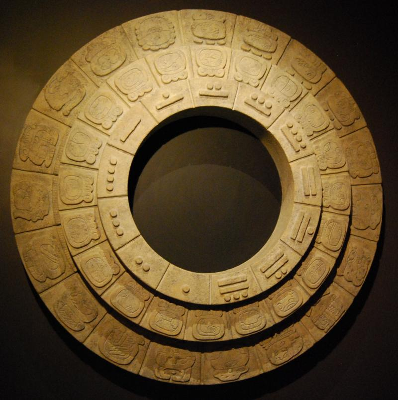 Modern visualization of the Mayan calendar at the National Museum of the American Indian.