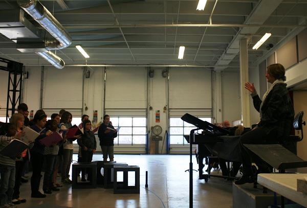 """Education Director Paula Winans leads """"The Giver"""" rehearsal."""