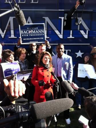 Michele Bachmann holds a press conference following an appearance at Jubilee Family Church in Oskaloosa